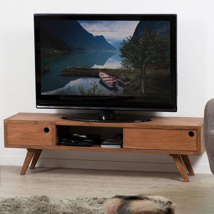 Meuble Tv 140cm Bois Exotique 2 Tiroirs 1 Niche Style Scandinave Contemporain Fanny