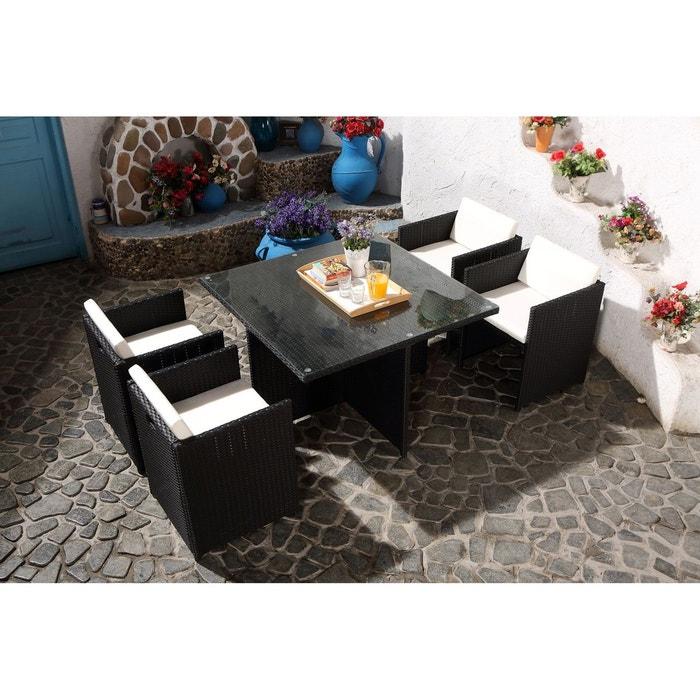 Salon de jardin r sine tress e 4 places miami 4 noir - Salon de jardin resine tressee direct usine ...