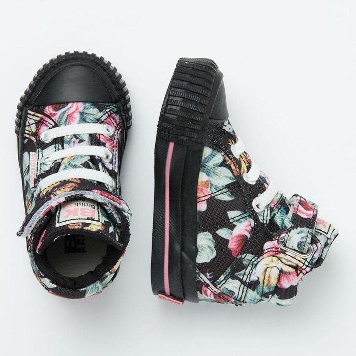 6cd7396477e ... Dee petites filles baskets montante noir fleur rose British Knights ...