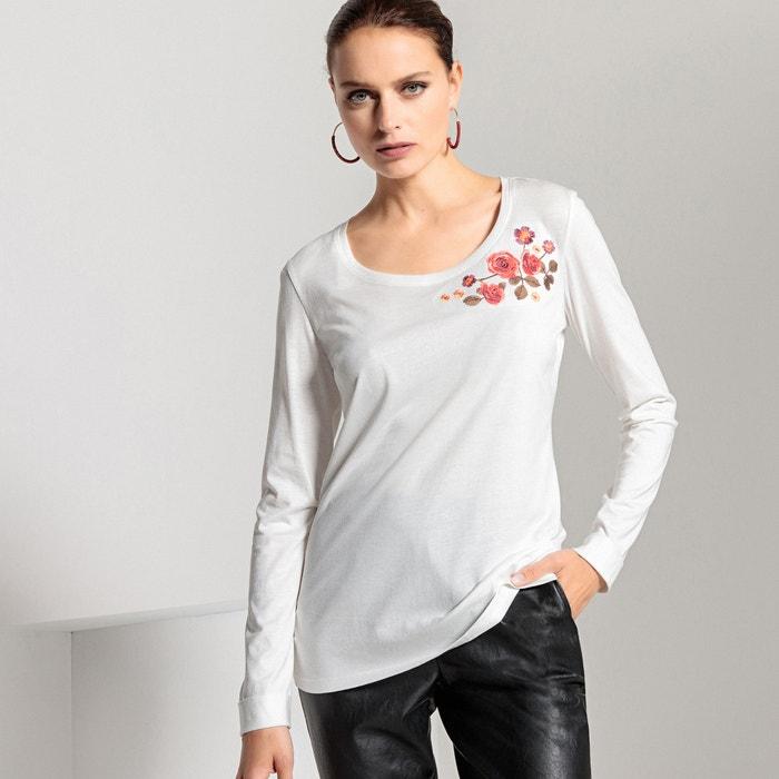 T-shirt scollo rotondo, patch ricamata, cotone e modal  ANNE WEYBURN image 0
