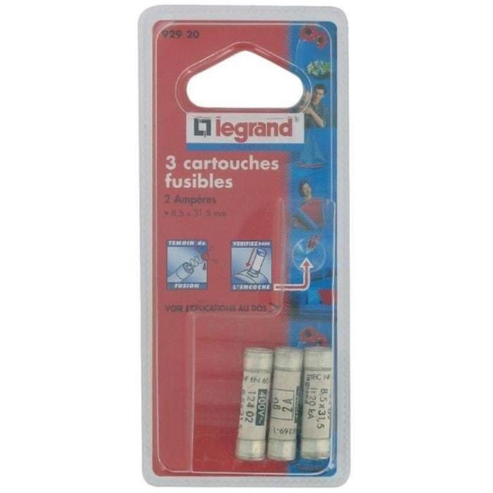 Legrand cartouche fusible pour porte fusible avec t moin 2a 460w 8 5 x 31 5 blanc mcd la redoute - Porte fusible encastrable ...