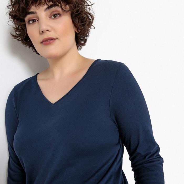 cuello con CASTALUNA de pico manga larga Camiseta qwvvC5ExA