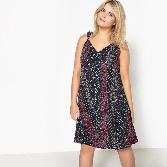 Floral Printed Dress with Shoestring Straps  CASTALUNA image 0