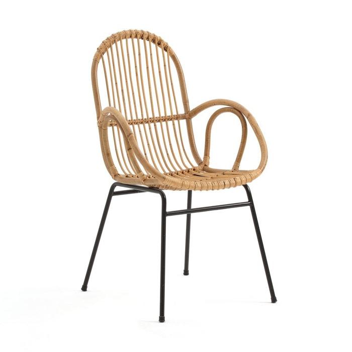fauteuil de table en canne de rotin siona naturel noir la. Black Bedroom Furniture Sets. Home Design Ideas