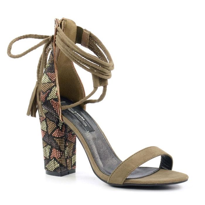 Sandales ethniques au talon vert Sacha