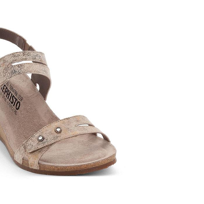 Sandales compensées cuir minoa camel Mephisto