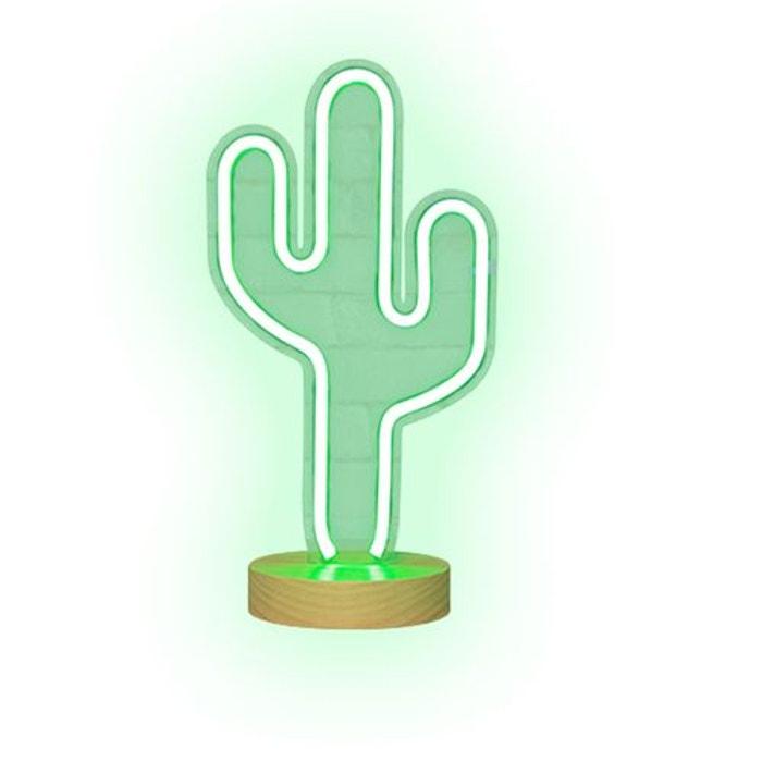 Lampe Neon Sur Pied Cactus Vert 41 Cm Vert Skylantern La Redoute