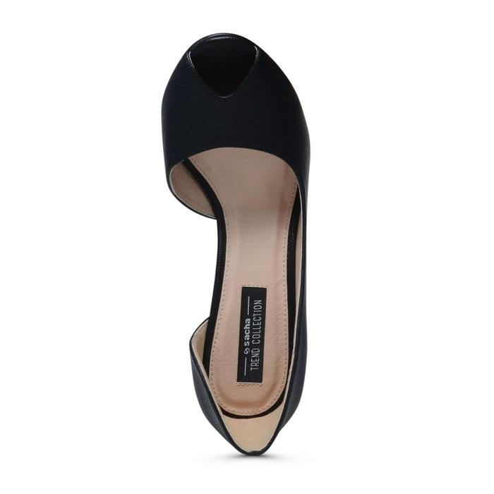 Escarpins avec peep toe noir Sacha