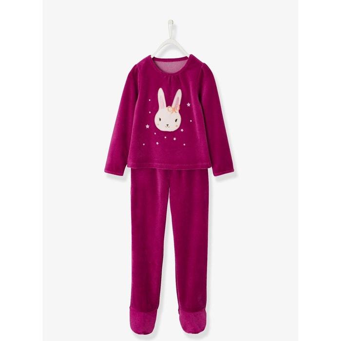 c0ea4c8af52ed Pyjama velours fille avec pieds rose foncé uni Vertbaudet