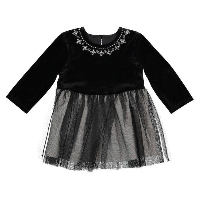 76d0f1f6d2 Vestido de dos tejidos de tul + terciopelo 1 mes - 3 años negro La Redoute  Collections