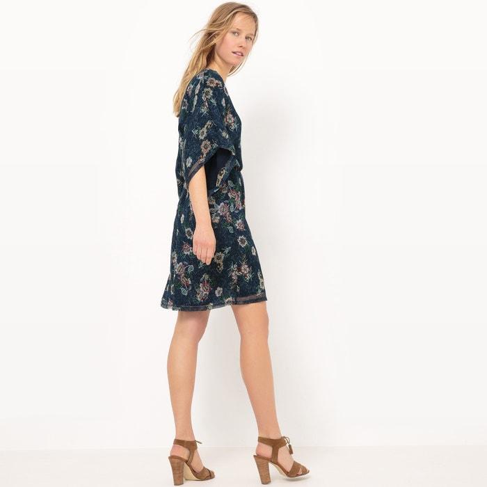afbeelding Korte jurk met decolleté vooraan, bloemenprint La Redoute Collections