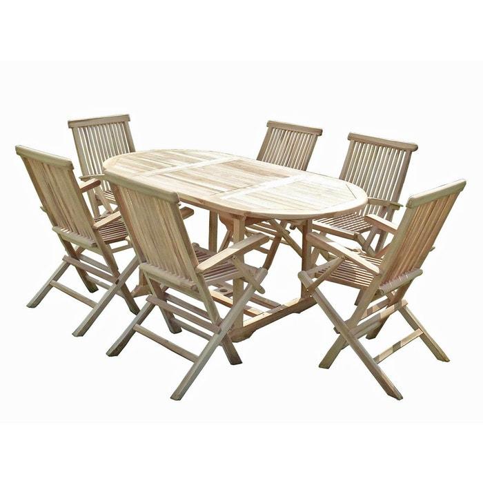 ensemble salon de jardin en teck solo 6 fauteuils pliants. Black Bedroom Furniture Sets. Home Design Ideas