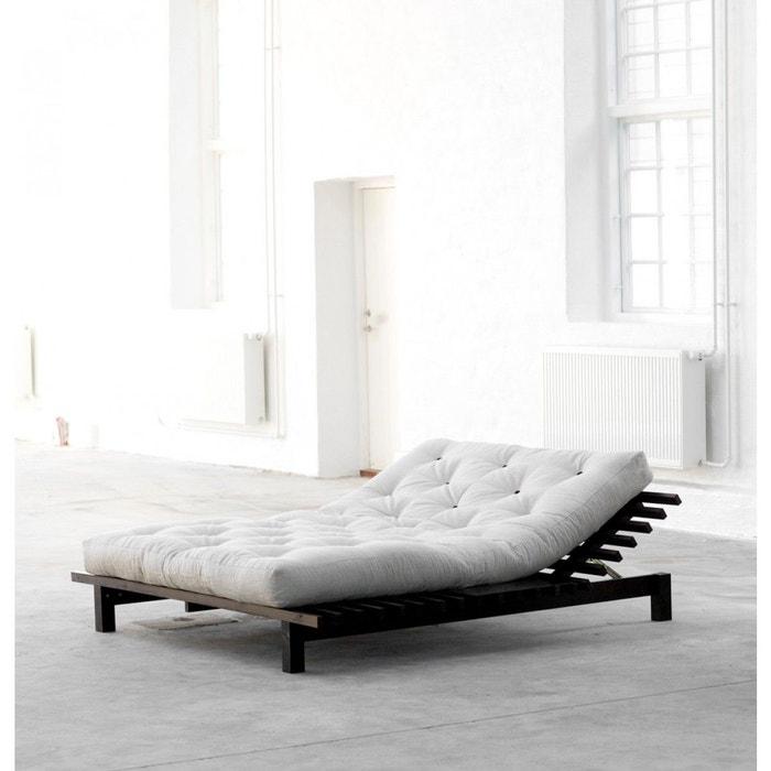 Lit futon blues en bois wengé - terre de nuit bois naturel ...