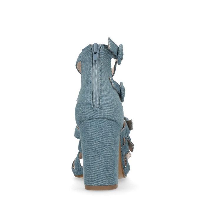 Sandales à talon avec boucles bleu Sacha
