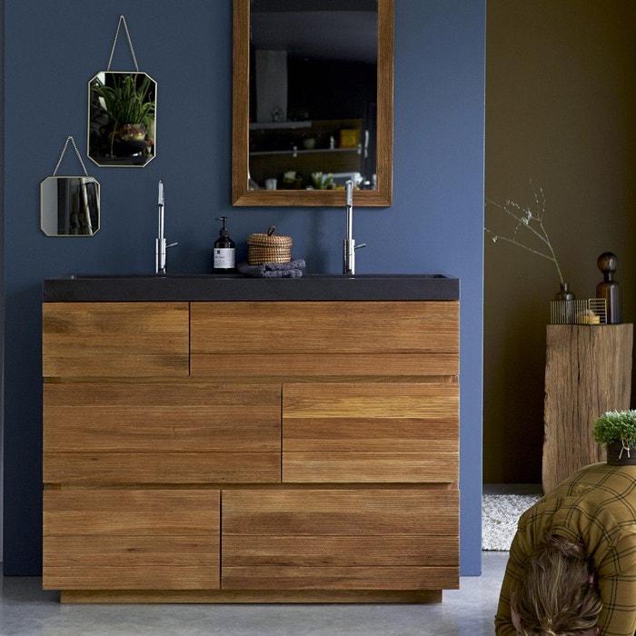 Meuble salle de bain en bois de chêne et pierre de lave 120 karl ...