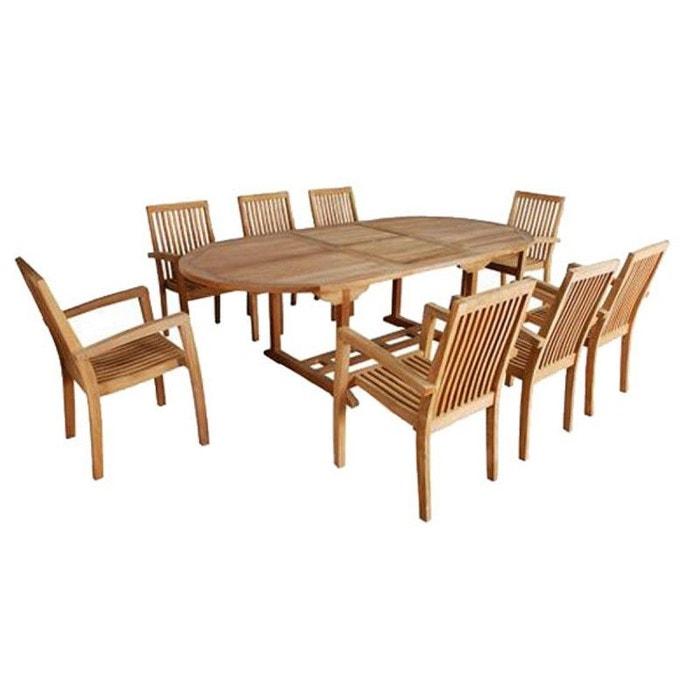Salon de jardin en bois de teck 8 à 10 places teck brut Bois Dessus ...