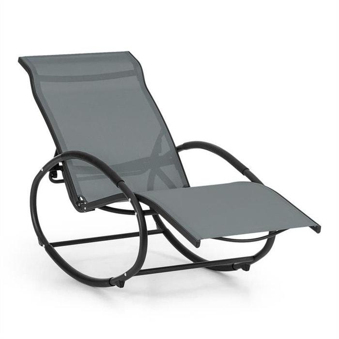 blumfeldt santorini fauteuil bascule chaise longue aluminium polyester gris blumfeldt image 0 - Fauteuil Chaise Longue