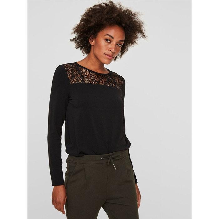 701ebb956d3a6 Tshirt à manches longues dentelle noir black Vero Moda   La Redoute