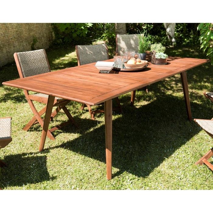 Table de jardin rectangulaire extensible style contemporain en bois  d\'acacia180/240x100cm SUMMER 10 personnes