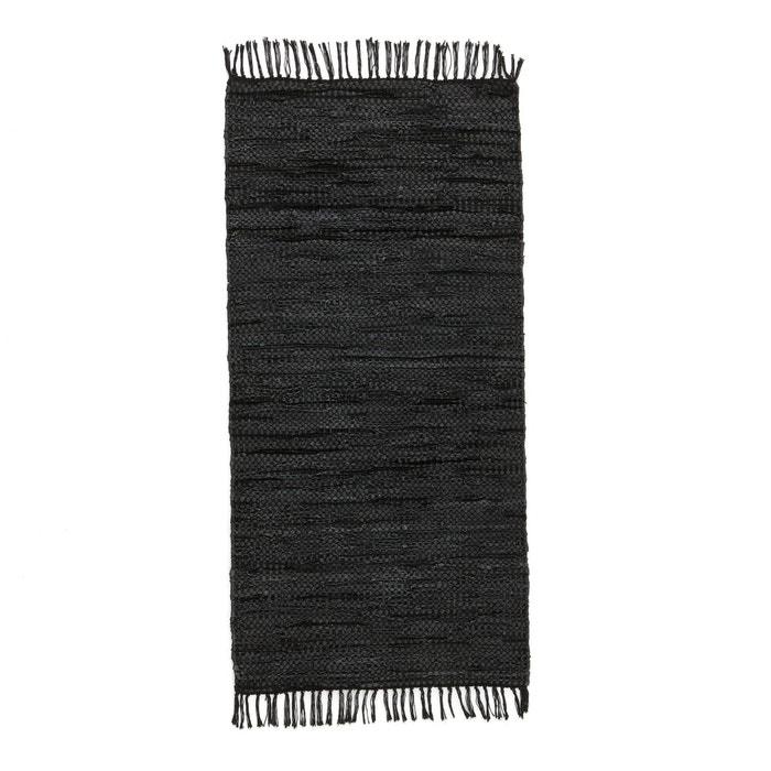 tapis de couloir ou descente de lit cuir lekar noir la redoute interieurs la redoute. Black Bedroom Furniture Sets. Home Design Ideas