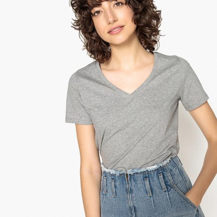 corta con Collections y Redoute en pico Camiseta manga cuello de la lentejuelas La espalda con qfazt