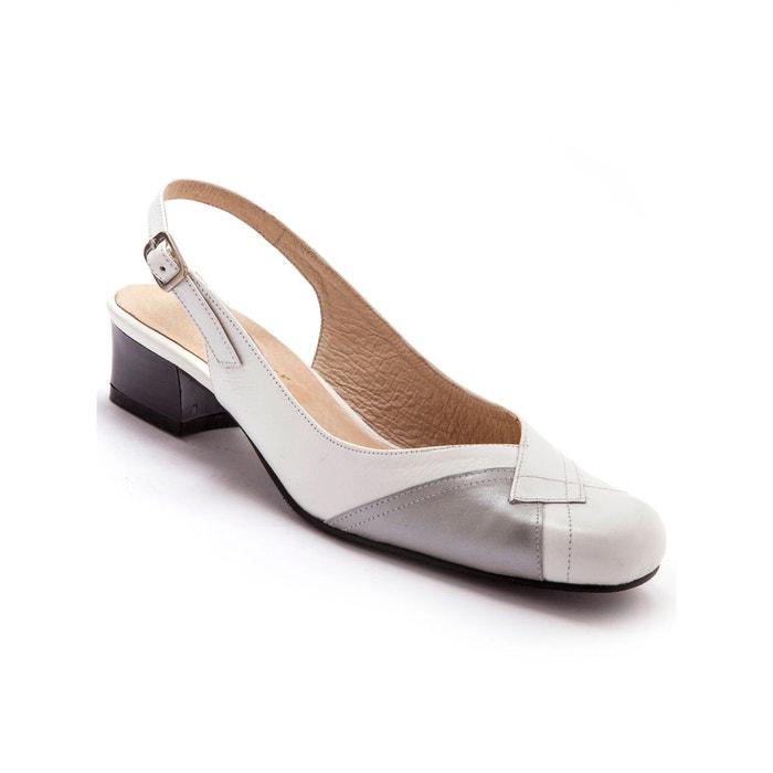 Sandales bicolores, talon 3cm blanc bicolore Pediconfort