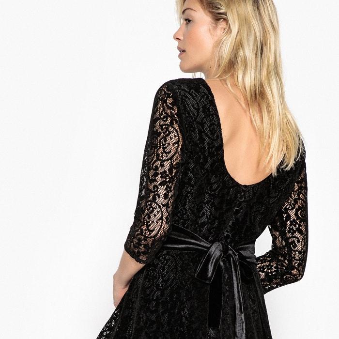 фото Платье кружевное с красивой спинкой и поясом из велюра MADEMOISELLE R