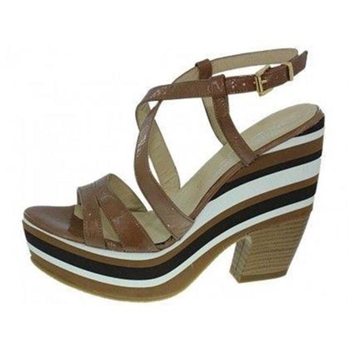 Sandales  /  nu-pieds cuir verni  camel Elizabeth Stuart  La Redoute