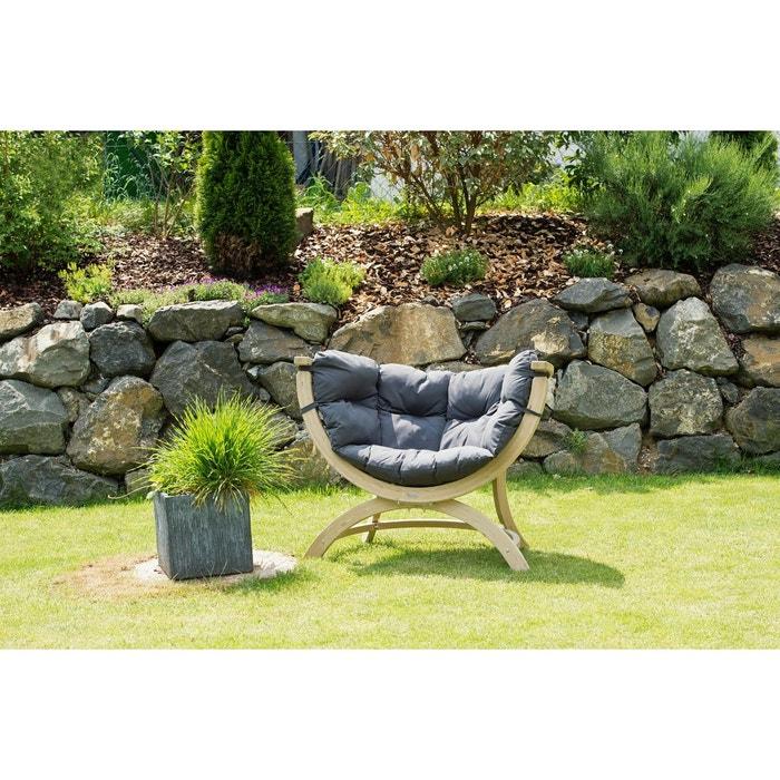 Fauteuil de jardin contemporain boule en bois épicéa et tissu gris SIENA  UNO 1 place