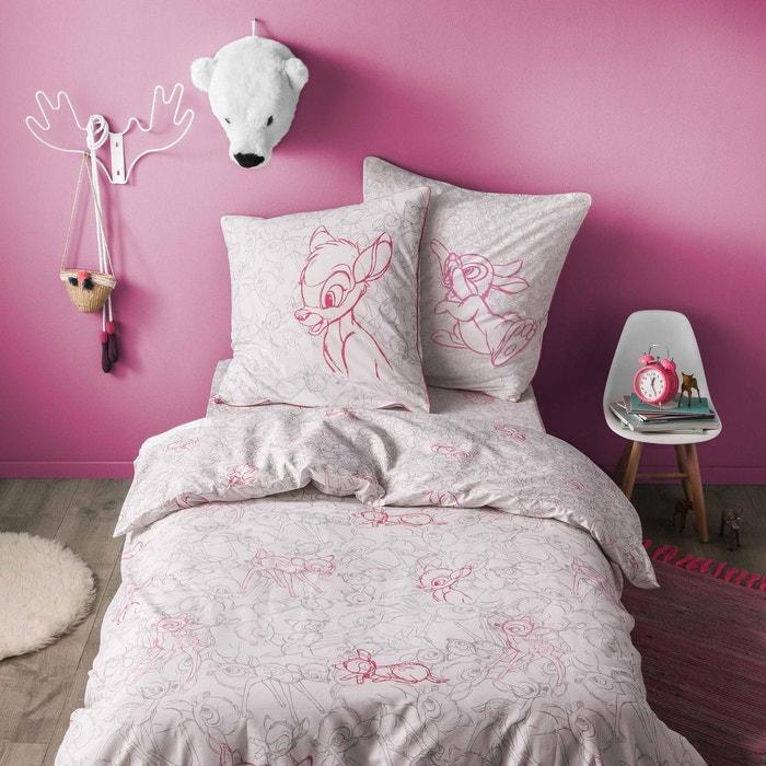 parure de lit enfant imprim e bambi cache cache 100 coton blanc et rose blanc blanc cerise. Black Bedroom Furniture Sets. Home Design Ideas