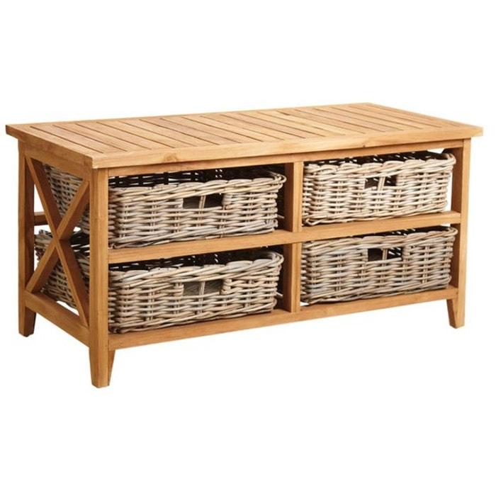 Table basse en teck avec 4 tiroirs naturel aubry gaspard la redoute - Table basse teck avec tiroir ...