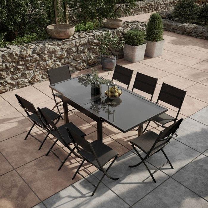 Table de jardin extensible, aluminium, 90/180cm, 8 chaises pliables ...