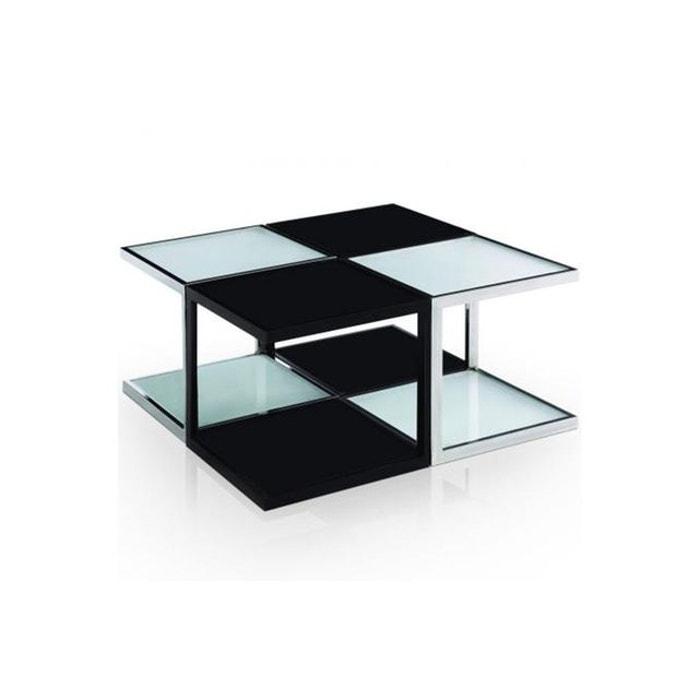 Table basse modulaire bicolore en inox sofia noir declikdeco la redoute - Table basse bicolore ...