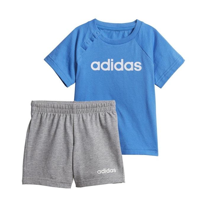 4fc051889973d Ensemble 2 pièces short + t-shirt 3 mois - 4 ans bleu-blanc Adidas ...