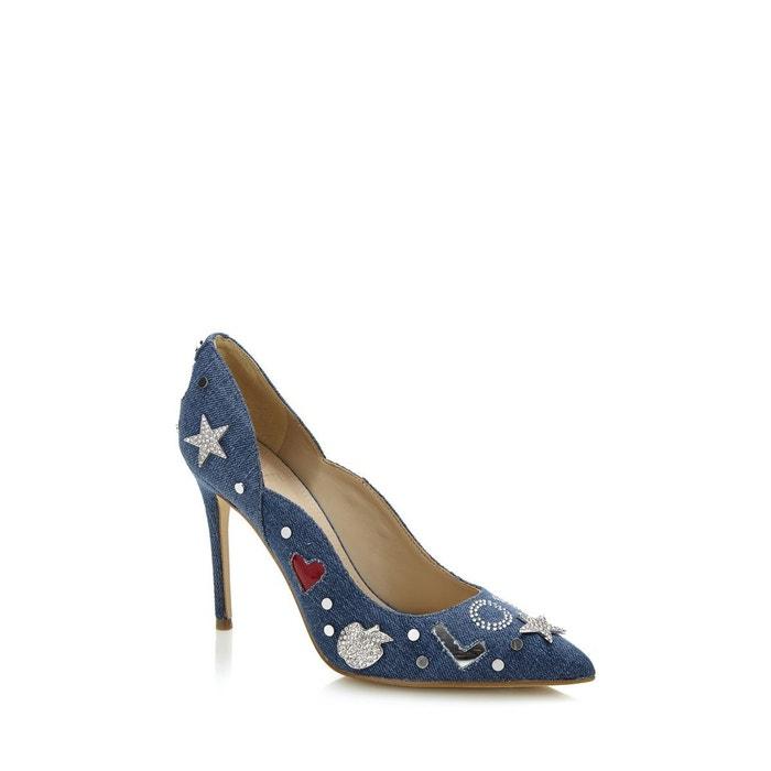 Escarpin belle jean applications bleu Guess