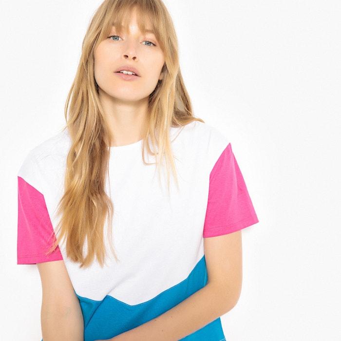 T-shirt scollo rotondo maniche corte tricolore  La Redoute Collections image 0