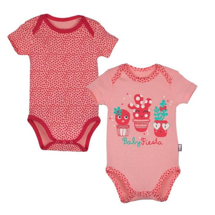 Lot de 2 bodies manches courtes bébé fille petit cactus rouge Petit Beguin   4a8cf846c4f