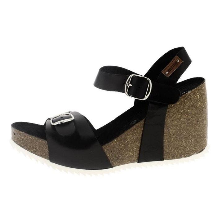 Sandales  /  nu-pieds cuir  noir Mtng  La Redoute
