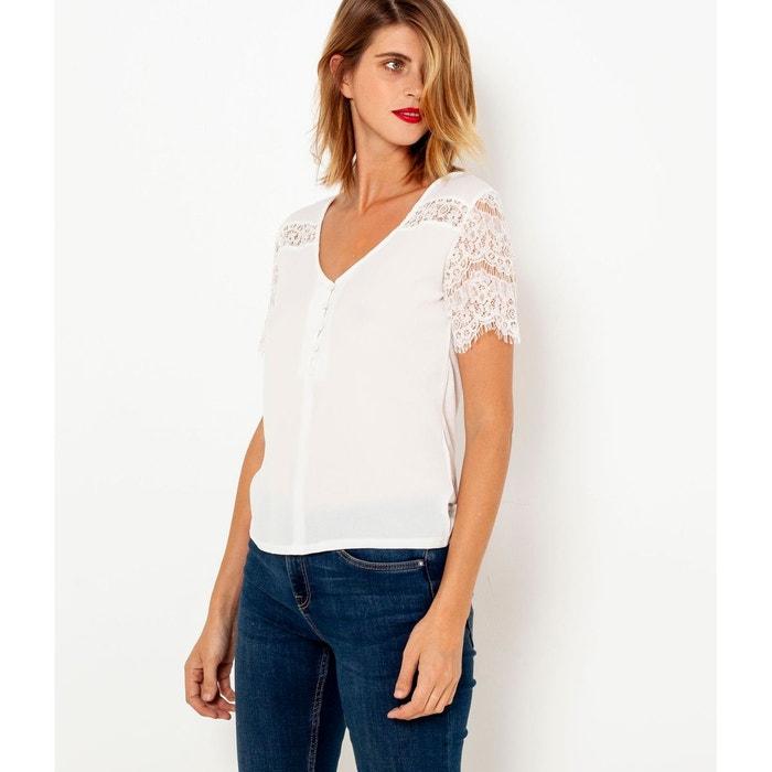 T-shirt col v détails dentelle Camaieu   La Redoute c3d85b743531