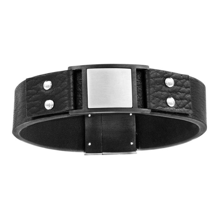 Bracelet 21 cm cuir noir plaque carré fermoir aimanté acier inoxydable couleur unique So Chic Bijoux | La Redoute