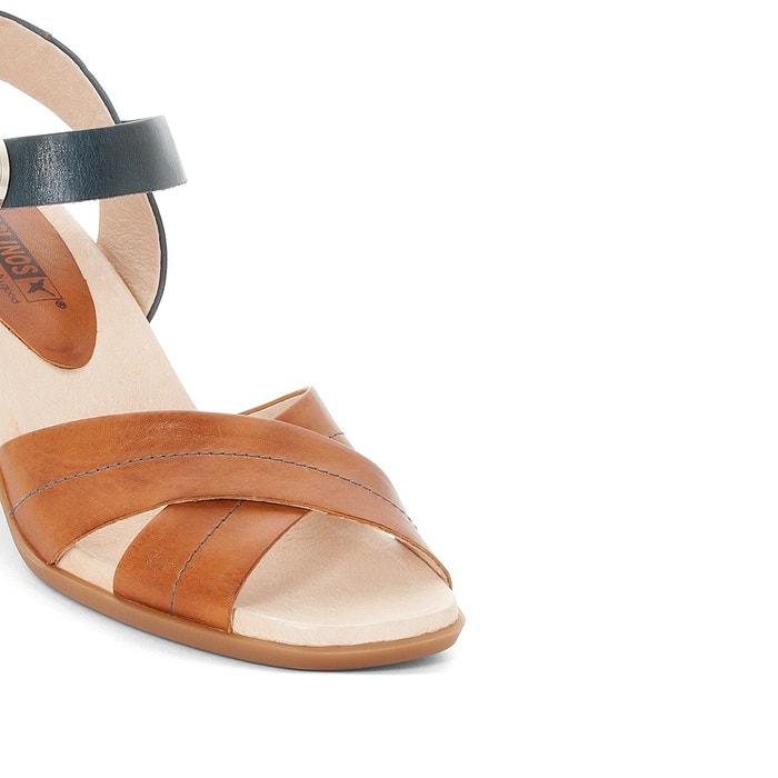 Sandales cuir à talons Denia W2R, Marine Camel