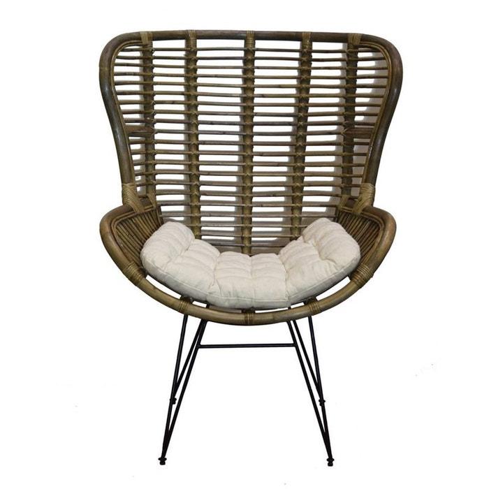 fauteuil relax en rotin m tal et coussin canada naturel et. Black Bedroom Furniture Sets. Home Design Ideas