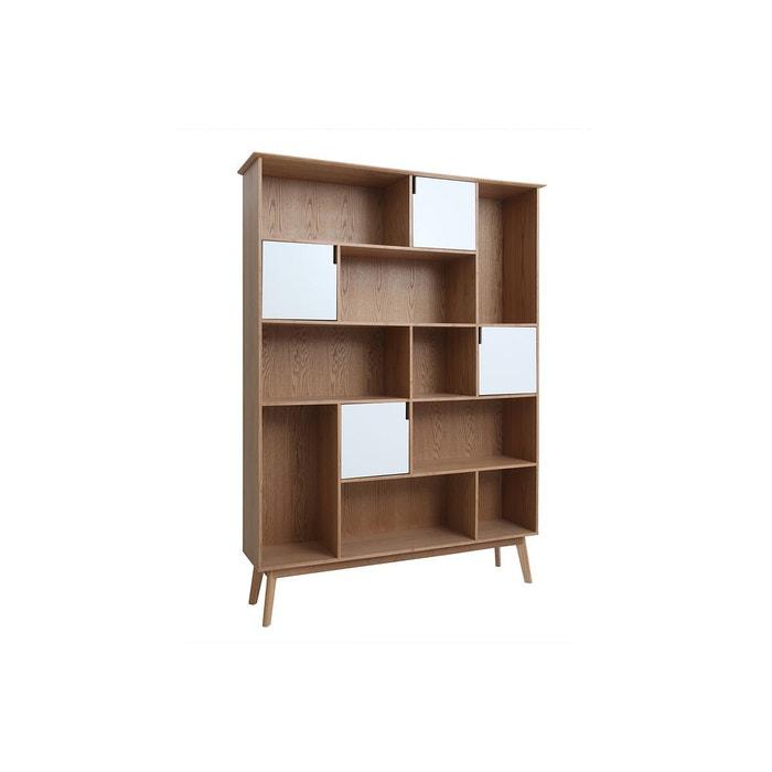 Bibliothèque design avec portes blanc et chêne ingrid chêne clair ... 128e9310fff5