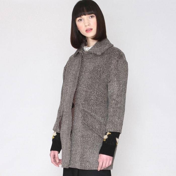 afbeelding Halflange jas met motief en haartjes PEPALOVES