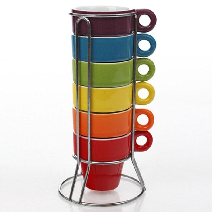Tasse à Café Avec Support : 6 tasses expresso empilables avec support so city multicolore b et w cuisine la redoute ~ Teatrodelosmanantiales.com Idées de Décoration