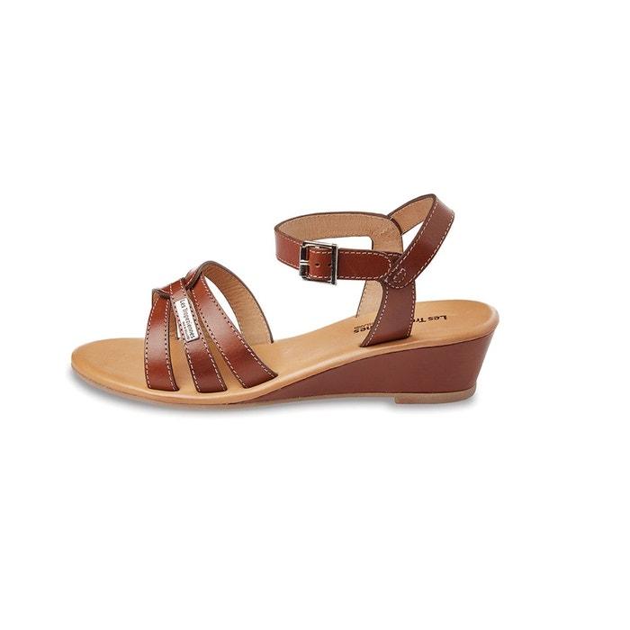Sandales en cuir, talons compensés LES TROPEZIENNES par M BELARBI
