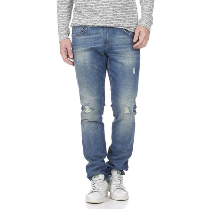 aedan distressed slim fit stretch jeans blue destroy tom. Black Bedroom Furniture Sets. Home Design Ideas