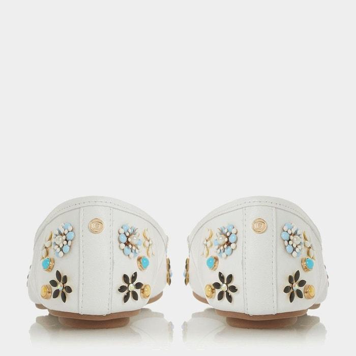 Ballerines ornés de fleurs - harmonyy blanc cuir Dune London