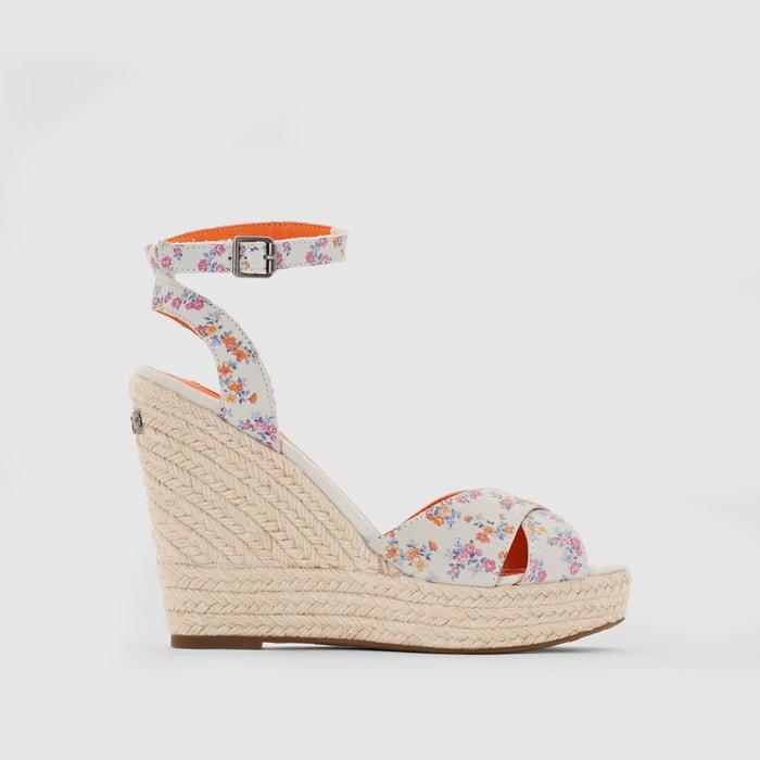 Image WALKER FLOWERS Leather Wedge Heel Sandals PEPE JEANS