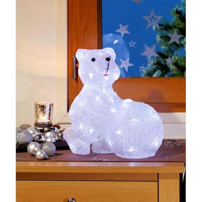 superbe illumination de no l ours avec boule de neige lumineux en acrylique led blanches. Black Bedroom Furniture Sets. Home Design Ideas
